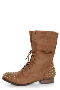 Bamboo Rascal 01 Chestnut Brown Studded Lace-Up Combat Boots at Lulus.com!
