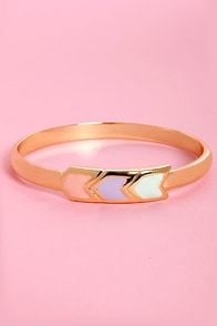 Pastel-ling Point Gold Arrow Bangle at Lulus.com!