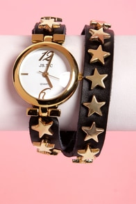 Astronomy Talks Black Studded Wraparound Watch at Lulus.com!