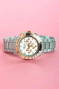 Chrono Jewels Metallic Mint Blue Watch at Lulus.com!