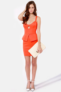Romance in Rio Orange Peplum Dress at Lulus.com!