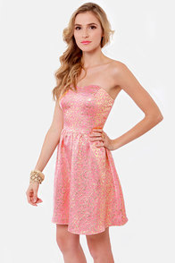 Pass the Champagne Gold and Pink Brocade Dress at Lulus.com!