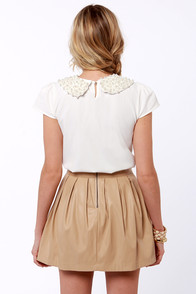 Pearl Talk Ivory Beaded Top at Lulus.com!