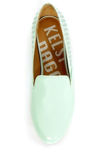 Kelsi Dagger Fabricea Aqua Patent Studded Smoking Slipper Flats at Lulus.com!