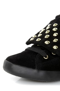 Cute to the Core Thrill Black and Gold Studded Foldover Sneakers at Lulus.com!