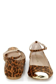 Mia Ashley Leopard Print Cap-Toe Pointed Flats at Lulus.com!