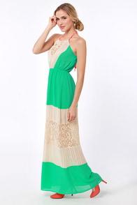 Three Charms a Lady Green Lace Maxi Dress at Lulus.com!
