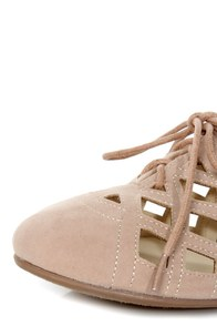 Bamboo Lynna 04 Nude Lattice Cutout Lace-Up Flats at Lulus.com!
