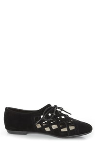 Bamboo Lynna 04 Black Lattice Cutout Lace-Up Flats at Lulus.com!