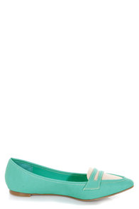 Restricted Bay Blue Turquoise Pointed Penny Loafer Flats at Lulus.com!