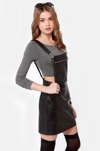 Bad Mama Jama Black Vegan Leather Jumper at Lulus.com!