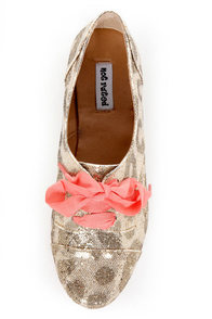 Not Rated Disco Project Gold Glitter Leopard Print Oxfords at Lulus.com!