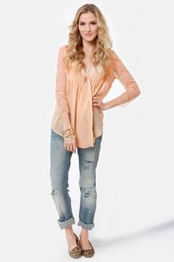 Dream On Blush Lace Top at Lulus.com!