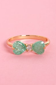 Love Bow-tion No. 9 Mint Bow Ring at Lulus.com!