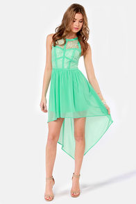 Searching High and Low Lace Mint Green Dress at Lulus.com!