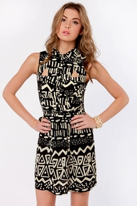 No Batik-ular Place to Go Black Print Dress at Lulus.com!
