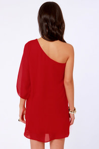 C'mon Get Happy One Shoulder Red Dress at Lulus.com!