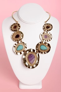 Stone's Throwback Gold Collar Necklace at Lulus.com!