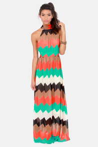 Chev-Rendezvous Red and Green Striped Maxi Dress