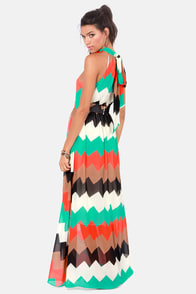 Chev-Rendezvous Red and Green Striped Maxi Dress at Lulus.com!