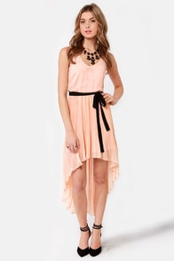 Pleat and Be Merry High-Low Peach Dress at Lulus.com!