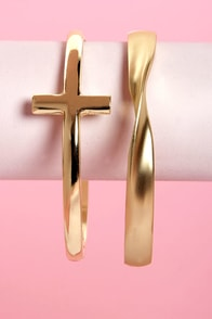 Twist Your Arm Party Gold Cross Bangle Set at Lulus.com!