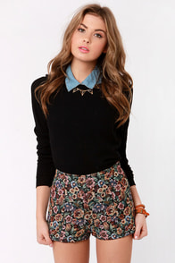 Tapestry Dancer High-Waisted Floral Shorts