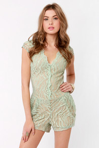 Lorelai Mint Lace Romper at Lulus.com!