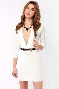 Lock and Keyhole Plunging White Dress at Lulus.com!