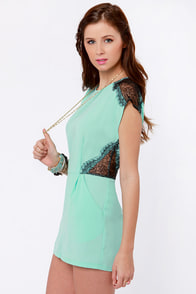 Lace Likely Mint Blue Romper at Lulus.com!
