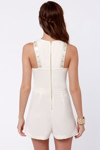 Croc My World Studded Cream Romper at Lulus.com!