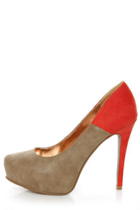 GoMax Cheap Trick 04 Taupe and Orange Platform Heels at Lulus.com!