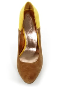GoMax Cheap Trick 04 Tan and Yellow Platform Heels at Lulus.com!