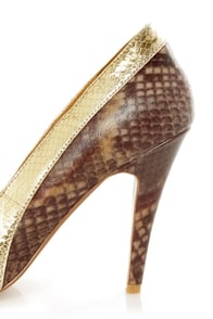 Envy Bethanie Gold and Brown Python Leather Pumps at Lulus.com!