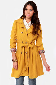 Day By Dainty Mustard Yellow Coat at Lulus.com!