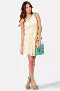BB Dakota by Jack Azura Beige Lace Dress at Lulus.com!