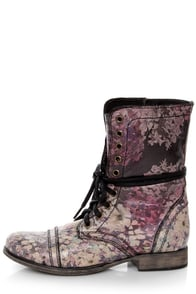 Steve Madden Blomm Floral Multi Print Leather Combat Boots at Lulus.com!
