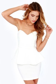 Wishy Posh-y Strapless Ivory Dress at Lulus.com!