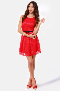 BB Dakota by Jack Azura Red Lace Dress at Lulus.com!