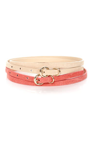 Fit Kit Beige and Coral Leather Belt Set