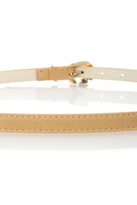 Know When to Gold 'Em Beige Skinny Belt at Lulus.com!