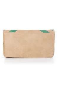 Duo Date Beige and Mint Striped Clutch at Lulus.com!