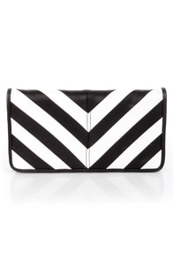 Duo Date Black and White Striped Clutch