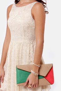 Edge Allegiance Beige Color Block Clutch at Lulus.com!