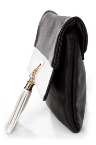 Tassel-mania Black and White Clutch at Lulus.com!