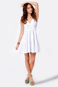 Edelweiss Cutout White Lace Dress