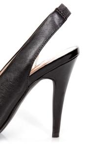 GoMax Ashland 21 Black Cap-Toe Slingback Heels at Lulus.com!