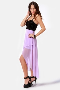 Young Love Glitter High-Low Lavender Dress at Lulus.com!