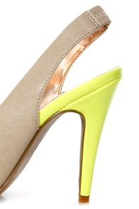 GoMax Ashland 21 Taupe and Neon Yellow Cap-Toe Slingback Heels at Lulus.com!