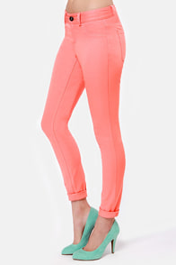 BB Dakota Reanne Coral Pink Jeggings at Lulus.com!